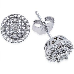 Jewelry - Sterling Silver Round Pave Diamond Stud Earrings